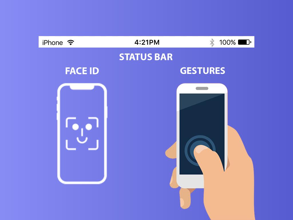 Status Bar, faceid, gestures